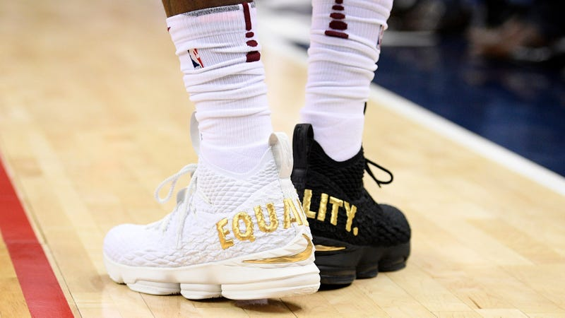 "Cleveland Cavaliers forward LeBron James' shoes are emblazoned with ""Equality"" on both heels during the first half of the game against the Washington Wizards on Dec. 17, 2017, in Washington, D.C. (Nick Wass/AP Images)"