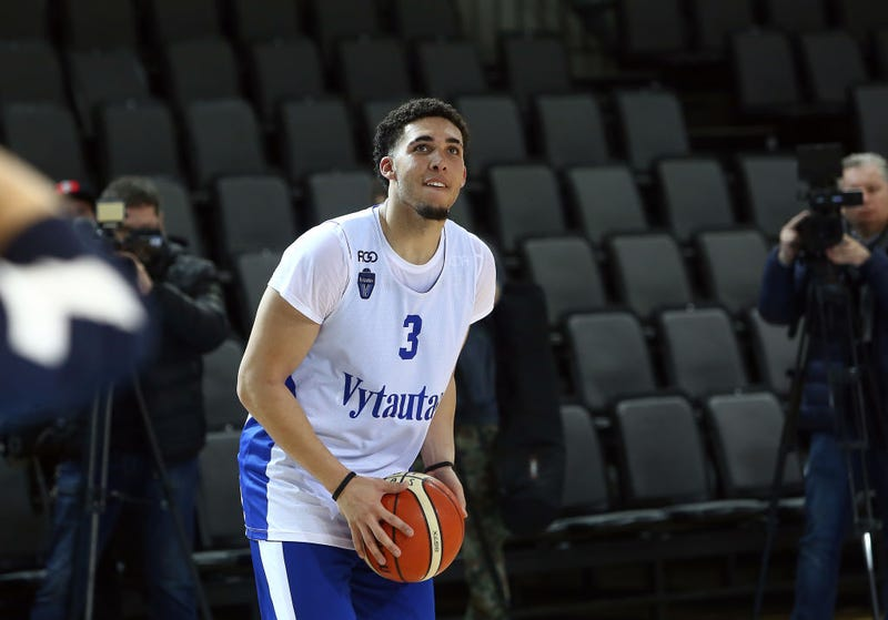 LiAngelo Ball during his first training session with Lithuania Basketball team Vytautas Prienai on Jan. 5, 2018, in Prienai, Lithuania.