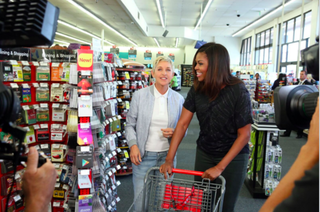 First lady Michelle Obama and Ellen DeGeneres at a CVS in Hollywood, Calif.YouTube Screenshot