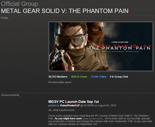 Illustration for article titled Metal Gear Solid V: The Phantom Pain PC Release Date Moved Forward