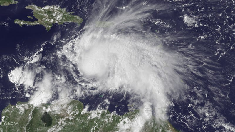 Hurricane Matthew forming in the Caribbean sea. Image: NOAA
