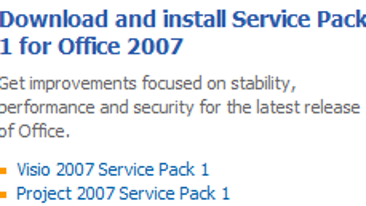 Patch Up Office with Microsoft Office 2007 SP1