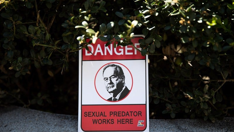 A protest sign left outside News Corp headquarters. (Photo: Drew Angerer/Getty Images)