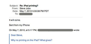 Illustration for article titled Steve Jobs: iPad Printing Will Come