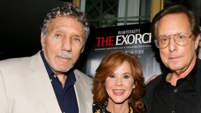 William Peter Blatty, left, joins Linda Blair and William Friedkin at a screening of the remastered film in 2010 at the Museum of Modern Art in New York. Image: AP Photo/Starpix, Dave Allocca