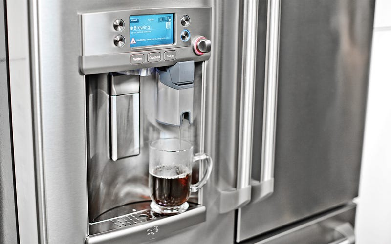 Illustration for article titled GE's New Fridge Has a Keurig Coffee Machine Built Right Into the Door