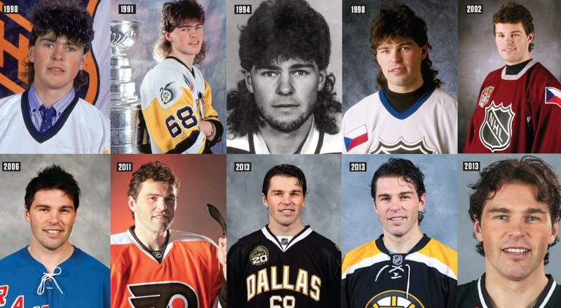 Illustration for article titled Jaromir Jagr Remembers His Very First Goal, And His Beautiful Mullet