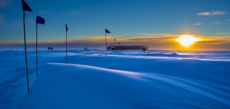 The South Pole Atmospheric Research Observatory in 2014. Image: NOAA-Lt. Joseph Phillips