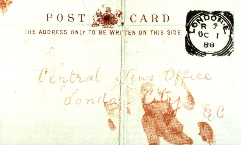 The front of the Saucy Jacky postcard. Both sides of the card were smeared with what appeared to be blood. (Image: Wikimedia)