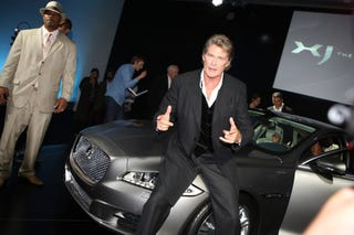 Illustration for article titled Caption This: Hoff Hassles New Jaguar XJ Edition