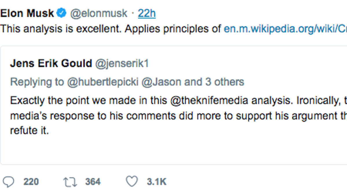 Elon Musk's Idea of 'Excellent' Journalism Comes From an