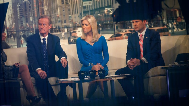 Fox & Friends hosts Steve Doocy, Ainsley Earhardt, and Brian Kilmeade broadcast from the studio in 2017.