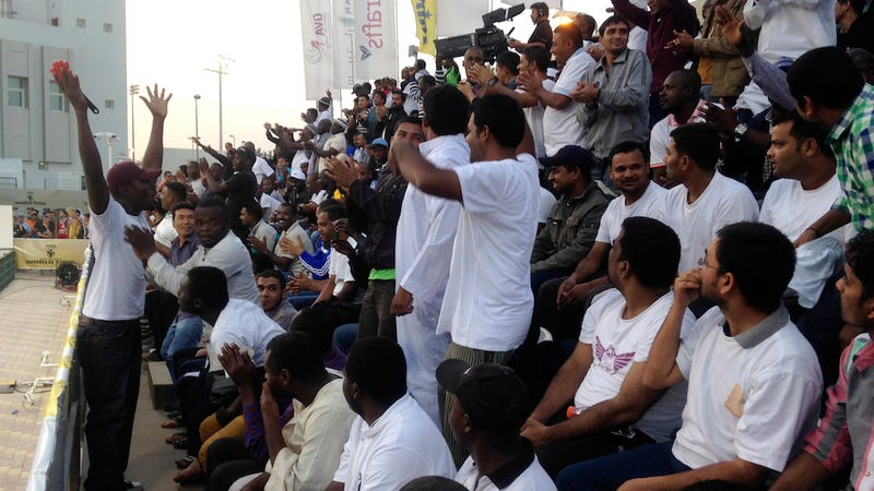 Illustration for article titled Qatar Pays Migrant Workers $1 an Hour To Be Fake Sports Fans