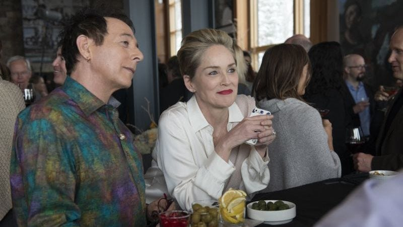 Paul Reubens and Sharon Stone in Mosaic (Photo: Claudette Barius/HBO)