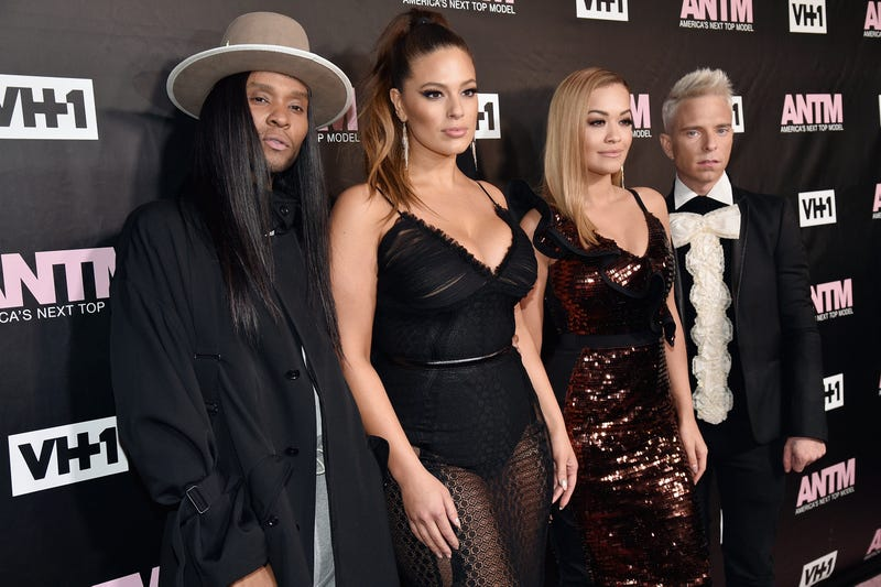 Image via Getty; Left to right: ANTM judges Law Roach, Ashley Graham, Rita Ora and Drew Elliott