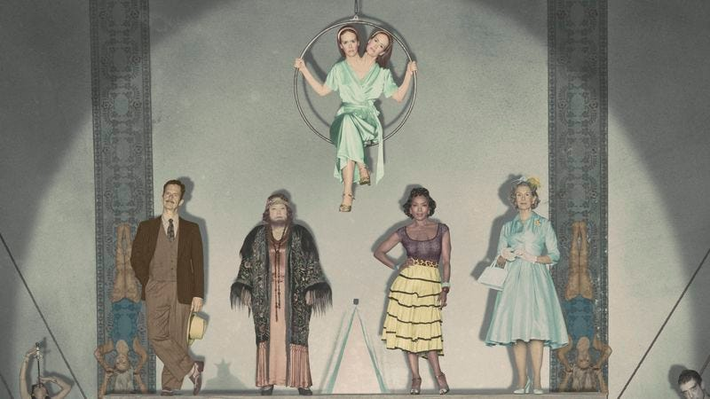 Denis O'Hare, Kathy Bates, Sarah Paulson, Angela Bassett, and Frances Conroy of AHS: Freak Show