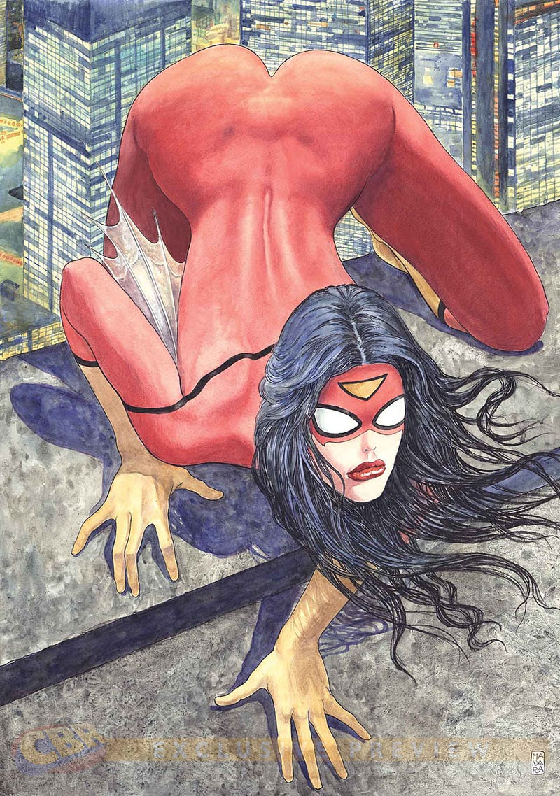 Illustration for article titled Milo Manaras variant Spider-Woman cover is, uh...