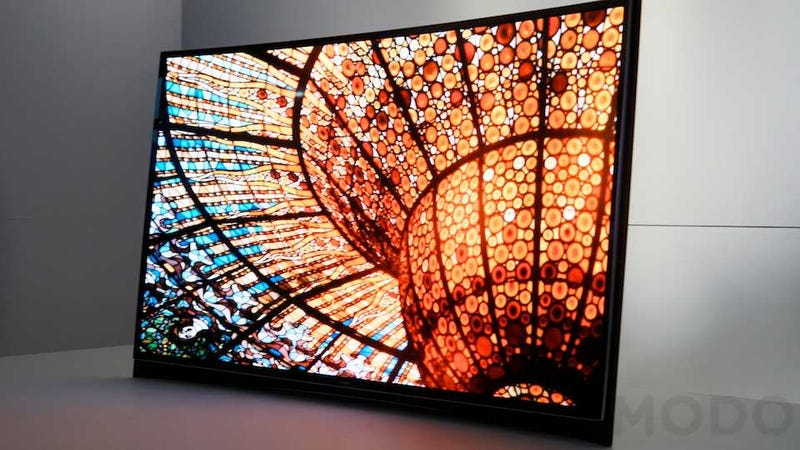Illustration for article titled Samsung's Got a Giant OLED TV That Curves (Updated: Hands On)