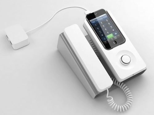 there s finally a dock to turn iphones into corded desk phones rh gizmodo com iphone desk phone charger iphone desk phone ringtone