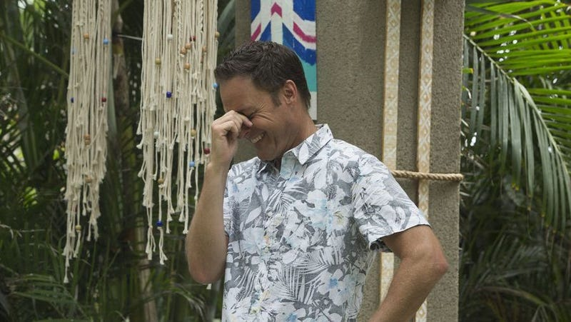 Harrison on the set of Bachelor in Paradise. Image via ABC.