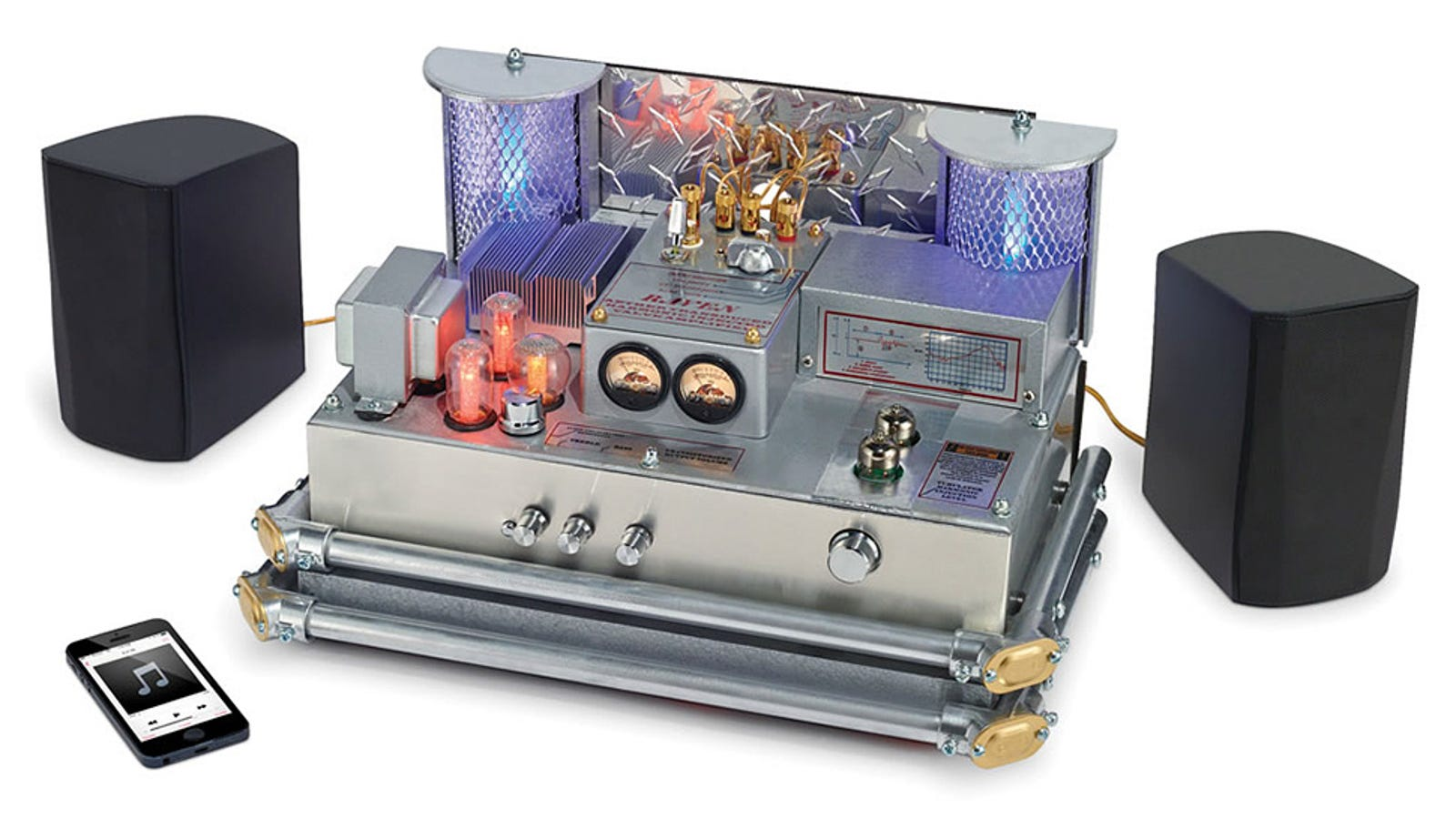 sound enhancing bluetooth tube amp doubles as cheesy sci fi prop. Black Bedroom Furniture Sets. Home Design Ideas