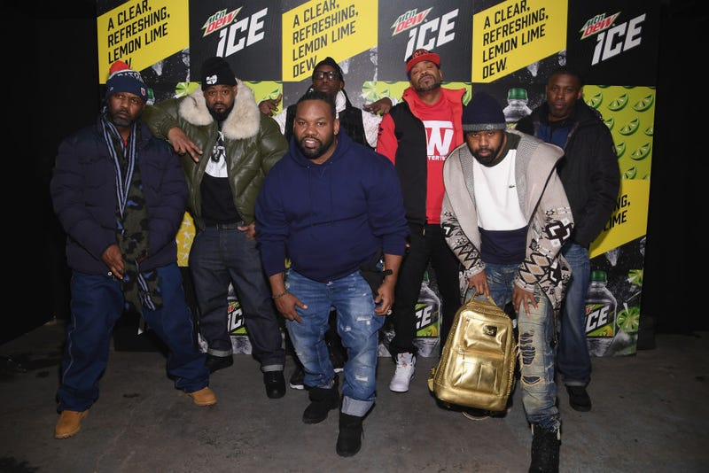 (L-R) Masta Killa, Ghostface Killah, RZA, Method Man, GZA, (front) Raekwon and Cappadonna of Wu Tang Clan attends the Mtn Dew ICE launch event on January 18, 2018 in Brooklyn, New York.