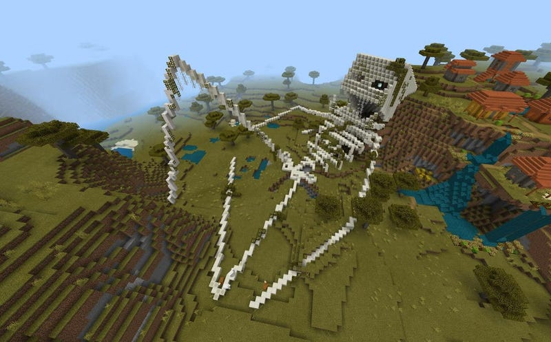 Illustration for article titled The Latest Minecraft Trend Has Fans Building Creepy, Giant Skeletons