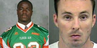 Jonathan Ferrell in undated photo (Courtesy of Florida A&M University); Officer Randall Kerrick (Mecklenburg Sheriff's Office)