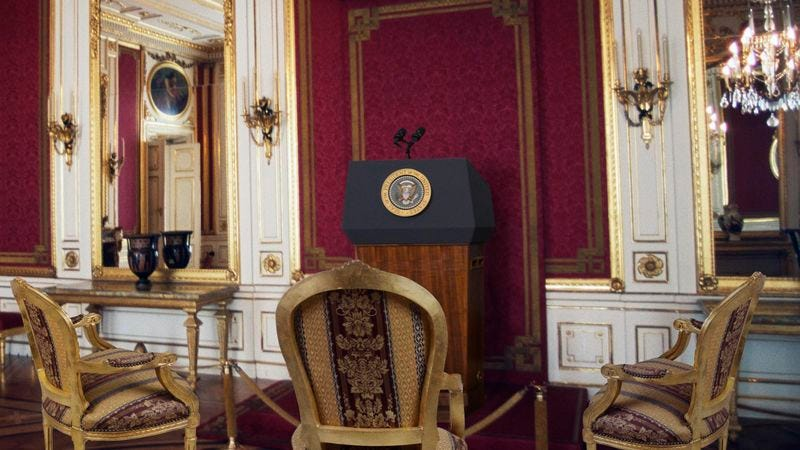 Illustration for article titled Trump Unveils Exclusive Double Platinum–Level Press Room For Only Select Few Journalists