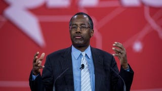 Ben Carson addresses the annual Conservative Political Action Conference at National Harbor, Md., outside Washington, D.C., Feb. 26, 2015. NICHOLAS KAMM/AFP/Getty Images