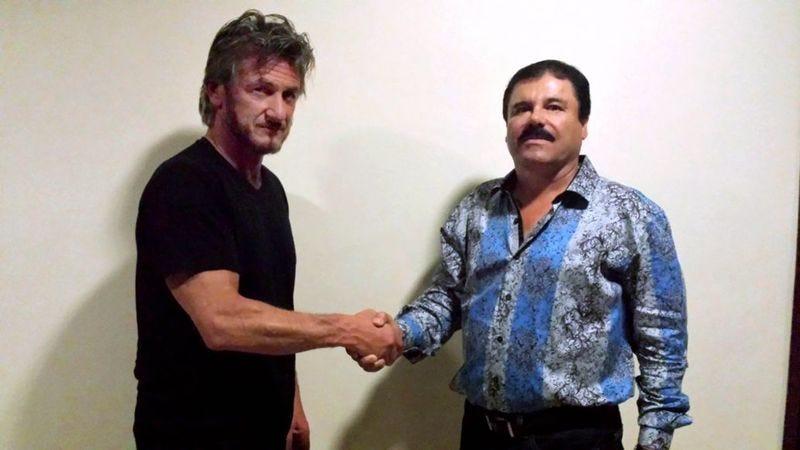 """Actor Sean Penn, posing with Joaquín Guzmán, a.k.a. """"El Chapo"""""""