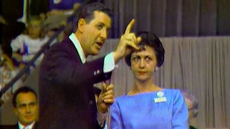 Monty Hall offers a trade to a contestant on the 1963 pilot of Let's Make A Deal. (Photo: Buzzr)