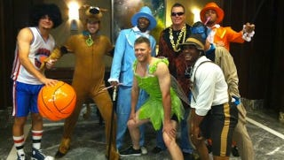 Illustration for article titled Chipper Jones Tries To Disguise How Fat He Is By Dressing As A Rookie Being Hazed