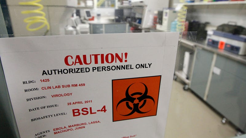 A 2011 file photo showing a warning sign on a door at the Fort Detrick facility.