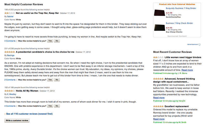 Illustration for article titled Amazon's Binder Pages Are Now Full of Funny Romney-Related Reviews