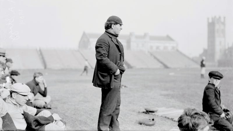 Amos Alonzo Stagg stands on the field, coaching the University Of Chicago baseball team in 1904. (Photo: Chicago History Museum/Getty Images)