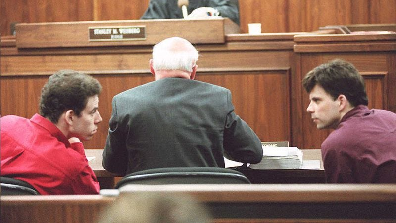 Erik and Lyle Menendez, on trial in 1995. (Photo: Getty Images)