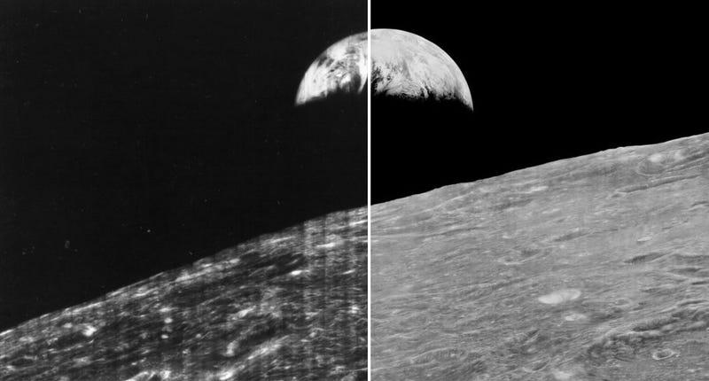 A la izquierda, la foto que la NASA hizo pública en 1967. A la derecha, la foto original de las Lunar Orbiter