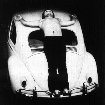 Illustration for article titled Performance Art and the Automobile: Chris Burden Crucifed on Beetle, 1974