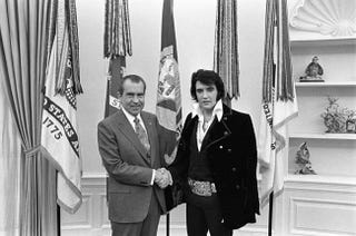 Illustration for article titled The most requested photo in the National Archives is of Nixon and Elvis