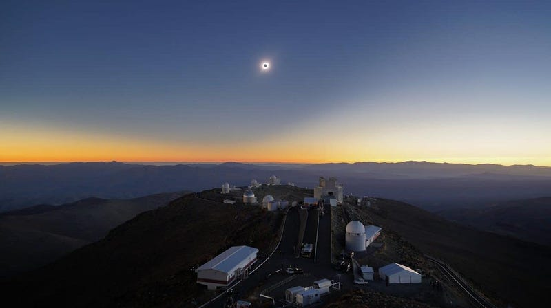 The eclipse seen from the European Southern Observatory La Silla Observatory.