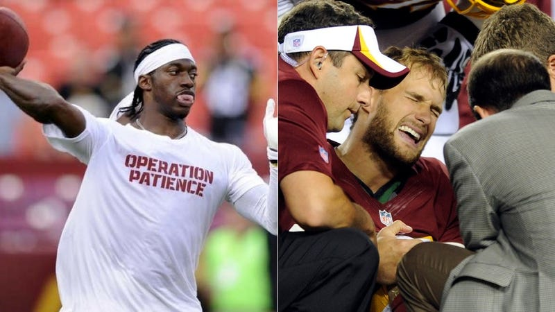 Illustration for article titled Kirk Cousins Injured; RGIII Still Not Cleared For Week 1