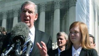 Attorney Bert Rein with plaintiff Abigail Noel Fisher after the U.S. Supreme Court heard arguments in her case on Oct. 10, 2012, in Washington, D.C.Mark Wilson/Getty Images