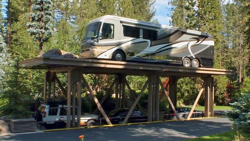 The aircraft carrier lift to Tom Gonzalez's legendary underground garage in Lake Tahoe. Screenshot from House 8 Media