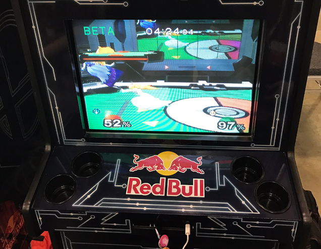 Red Bull eSports' Melee cabinets at Gen4, photo by Alex Jebailey