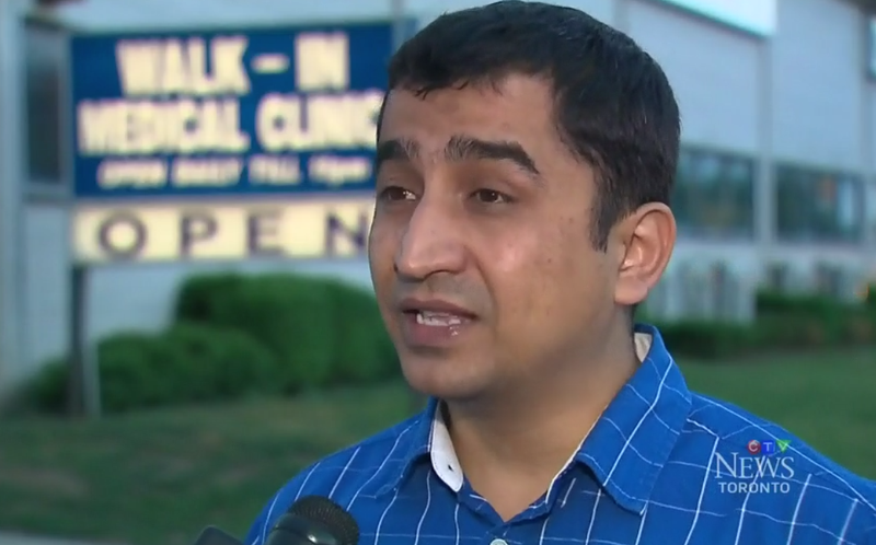 Hitesh Bhardwaj, who recorded the viral video of a white Canadian woman demanding that a white doctor see her son at a walk-in clinic in Ontario (CTV screenshot)