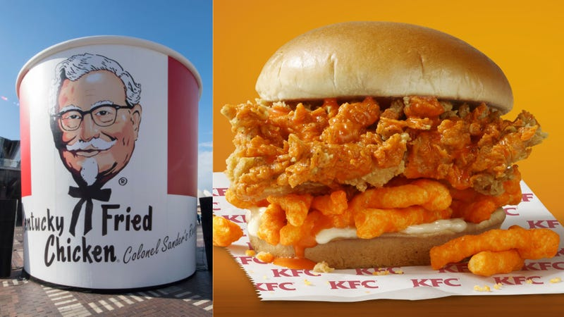 Illustration for article titled KFC testing Cheetos fried chicken sandwich in fortunate Southern states