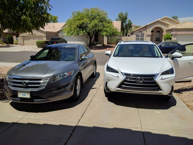 My 2012 Crosstour next to the 2017 NX200t