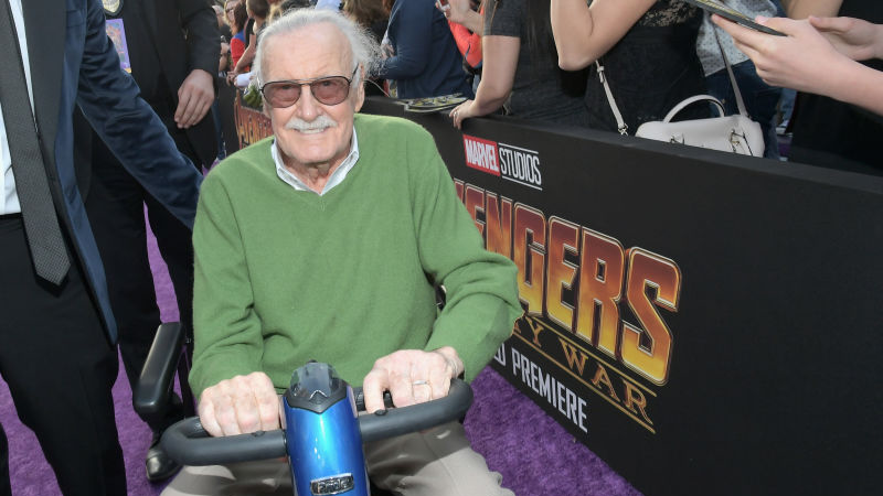 Lee attending the Los Angeles premiere of Avengers: Infinity War in April 2018.