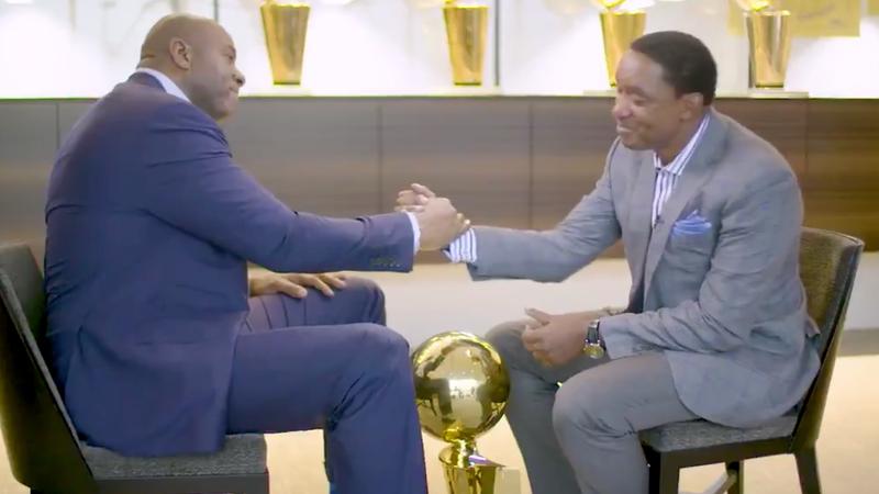 Magic Johnson and Isiah Thomas (NBA TV screenshot)
